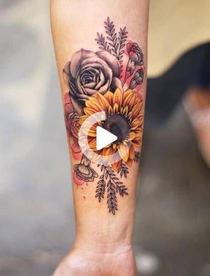 Tattoo shoulder sunflower roses 17+ Best Ideas