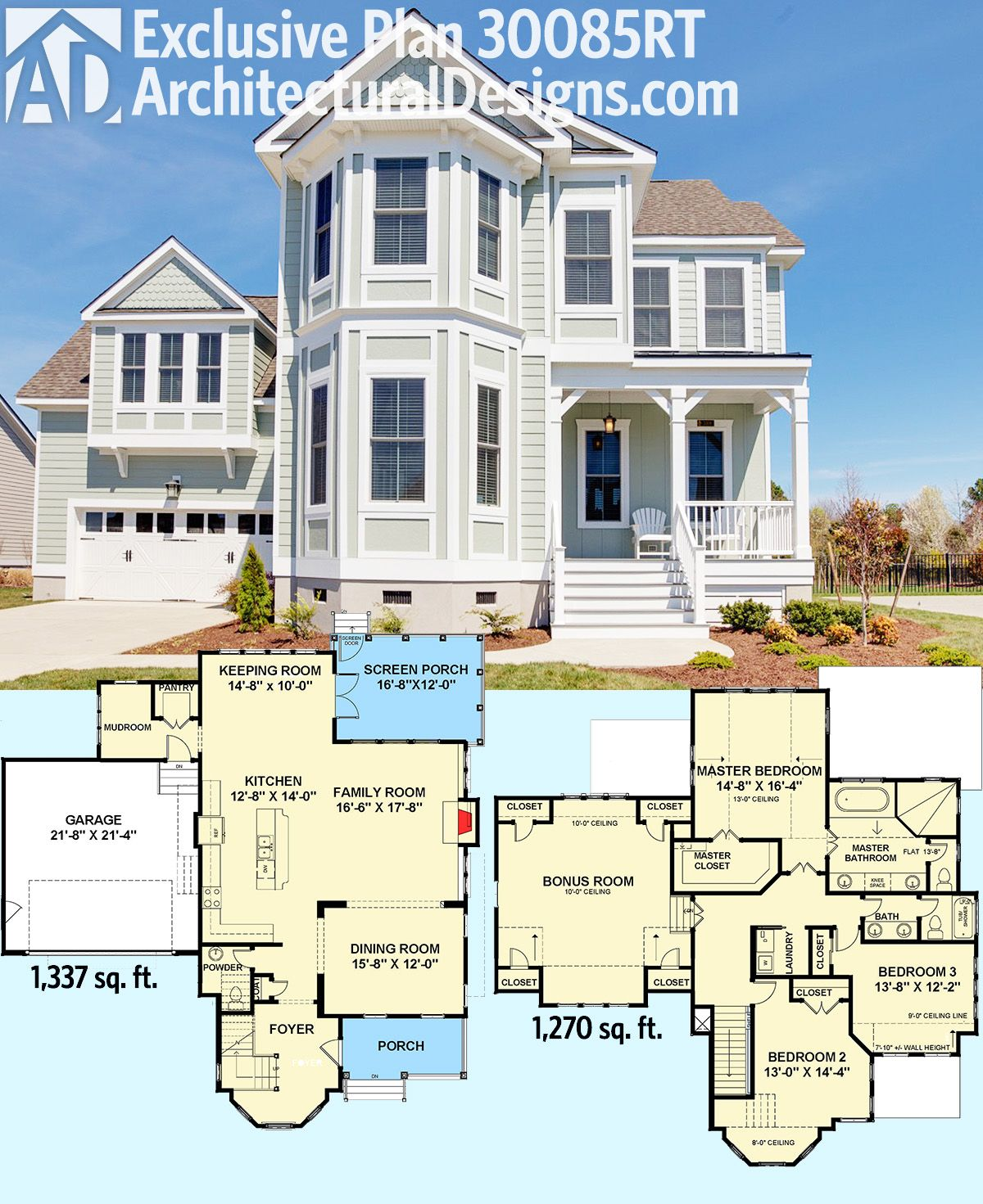 Plan 30085rt exclusive victorian with bay windows for Beach house plans sims 3