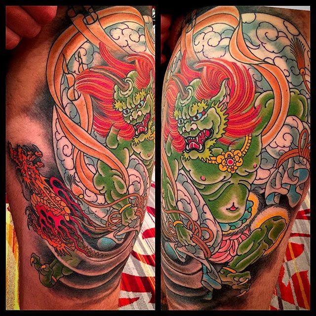 Japanese Wind Tattoo: #fujin God Of Wind. @kingsavetattoo #mikerubendall