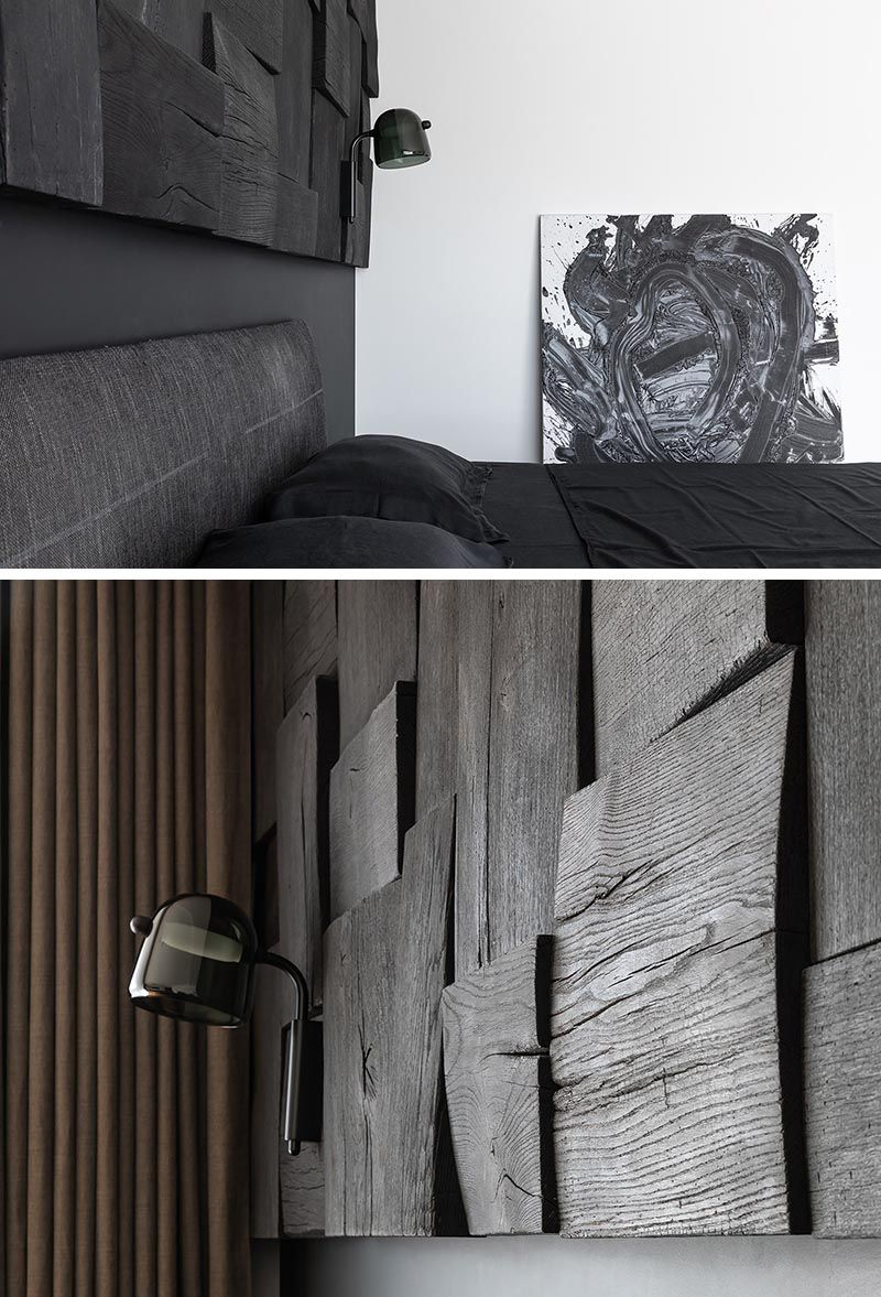 A Blackened Wood Accent Wall Provides Some Creative Texture In This Bedroom Wood Panel Walls Textured Wall Panels Accent Wall