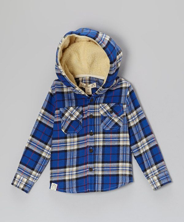 Another great find on #zulily! Owl & Hoot Blue & Tan Flannel Sherpa Hooded Button-Up - Toddler & Boys by Owl & Hoot #zulilyfinds