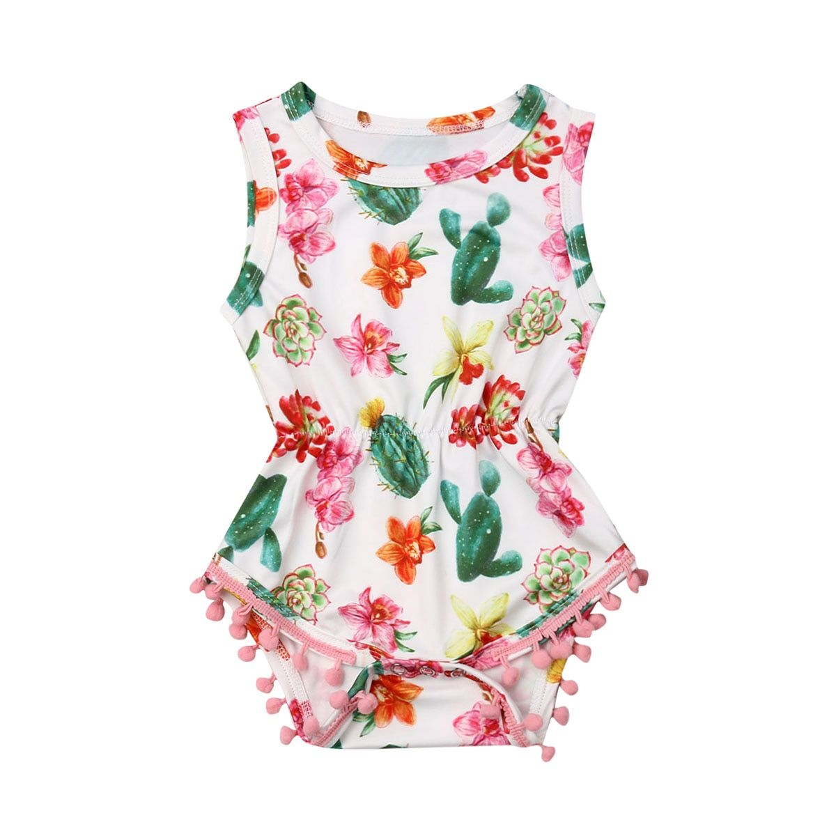 Dsood Newborn Baby Boys Girls Cactus Print Zipper Romper Jumpsuit Outfits Clothes