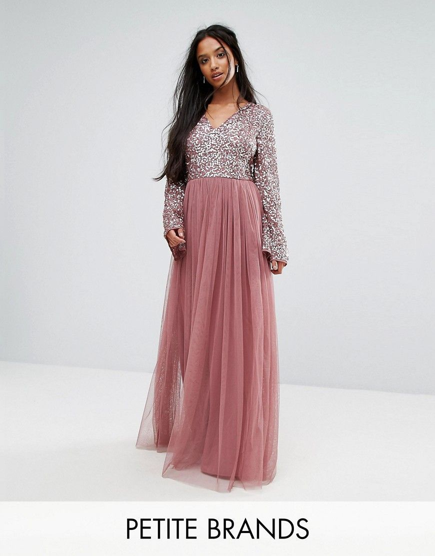 b7225d2319f3 Maya Petite Sequin Top Tulle Maxi Dress With Fluted Sleeve Detail - Pu