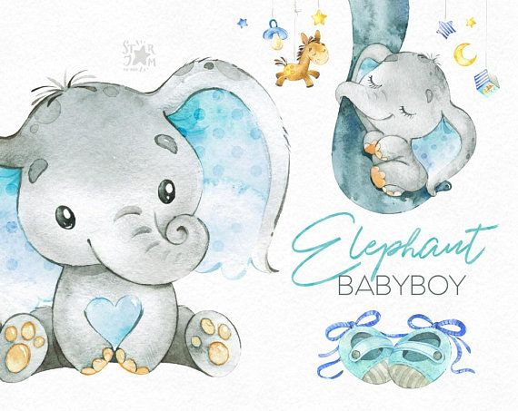 Elephant. Babyboy. Watercolor little animal clipart africa | Etsy