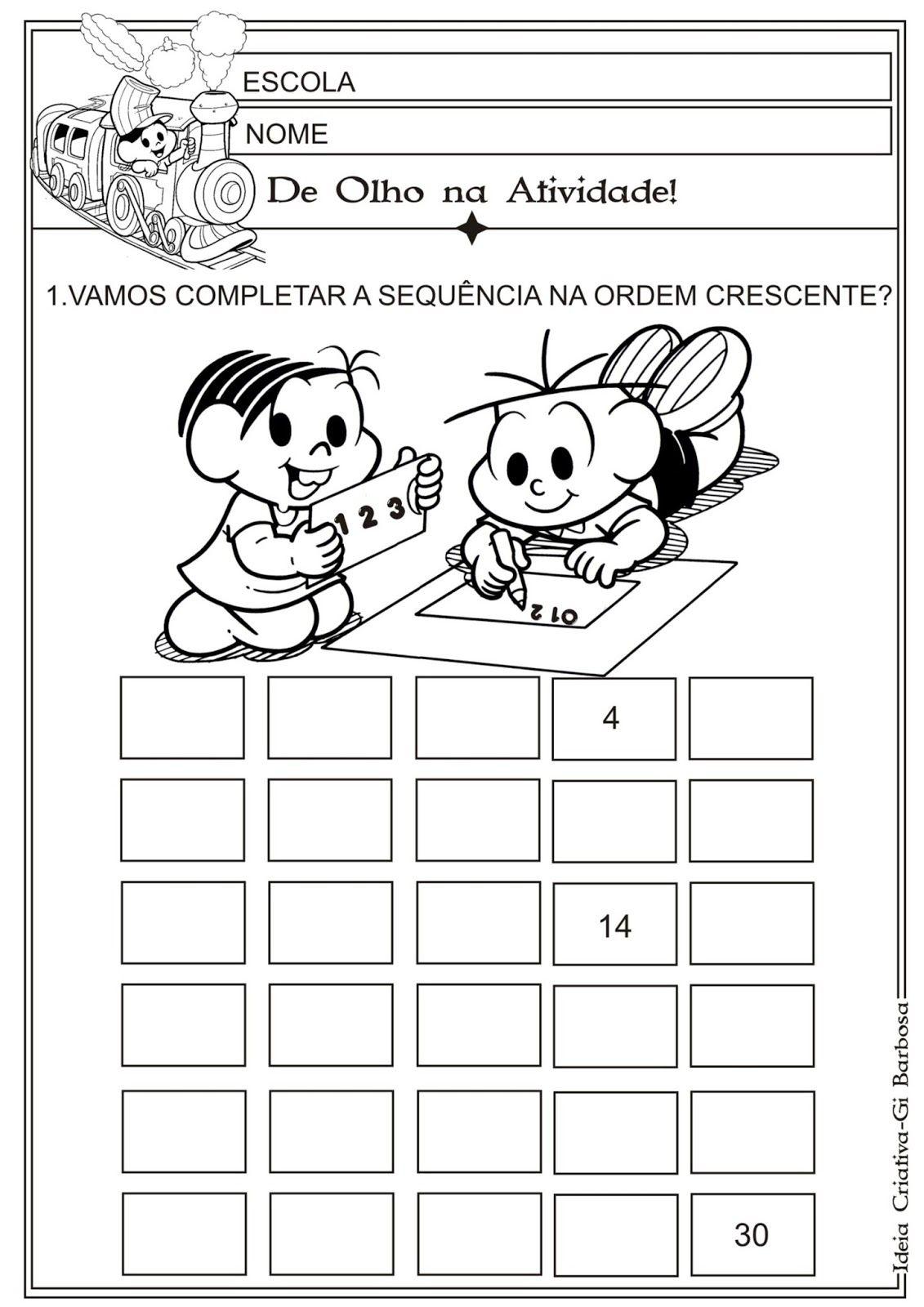 Matematica Infantil Atividade Ordem Crescente 1 A 30
