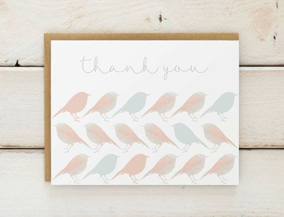 Bird Thank You Cards Watercolor Thank You Cards Bird Pattern