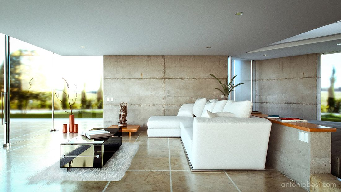 Modern House Interior Render Mental Ray Table Archviz