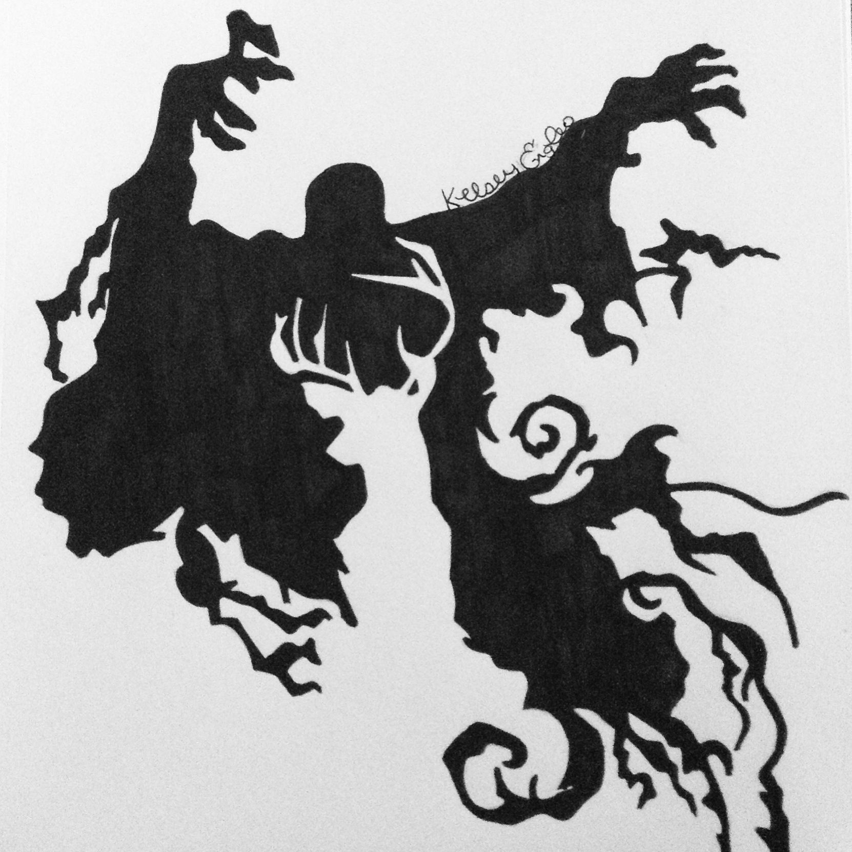 Removable Wall Art Stickers Dementor And Stag Silhouette Drawn By Kelsey Engles Art