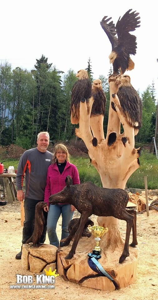 Moose and eagles chainsaw carving art bob
