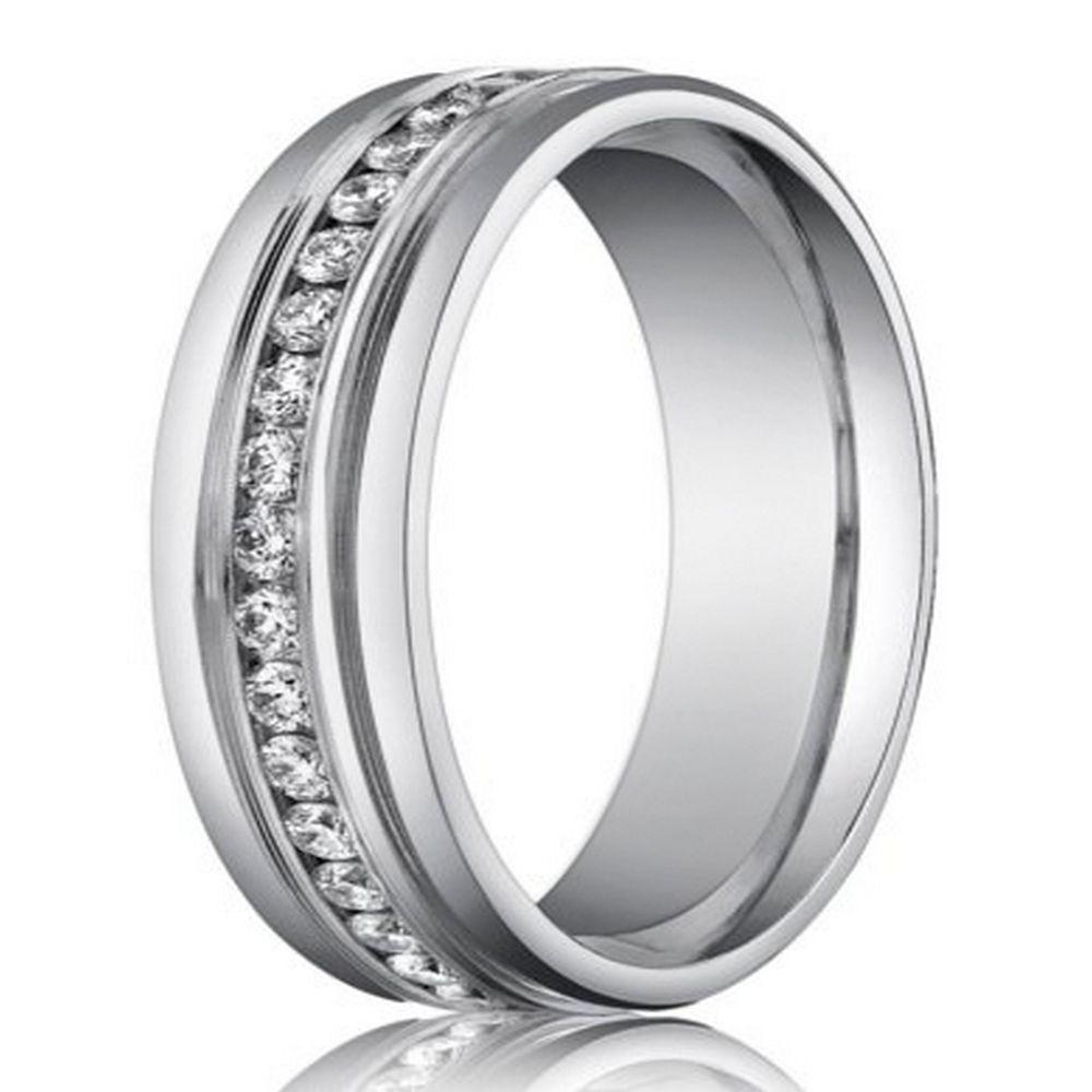 6mm 14k white gold designer diamond eternity wedding band