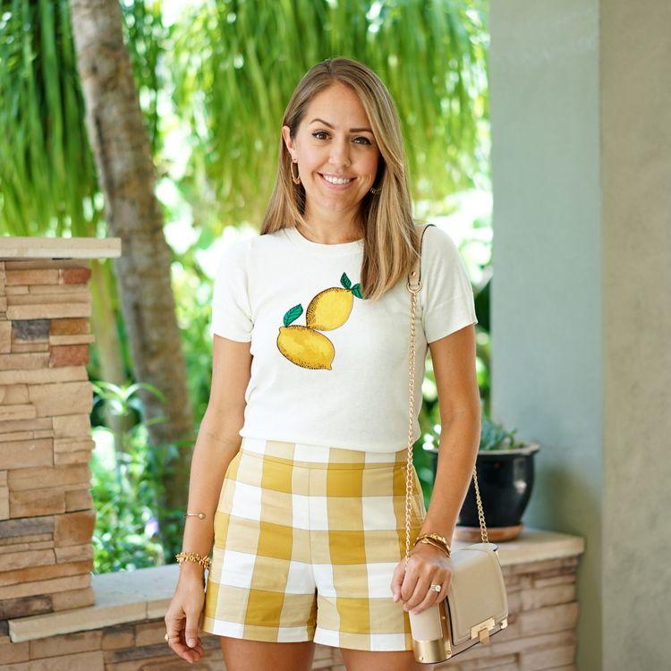 Lemon sweater, gingham shorts
