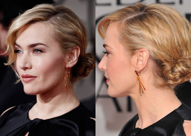 Kate Winslet At The 2017 Golden Globes Side Part Sweeping Fringe And Chignon
