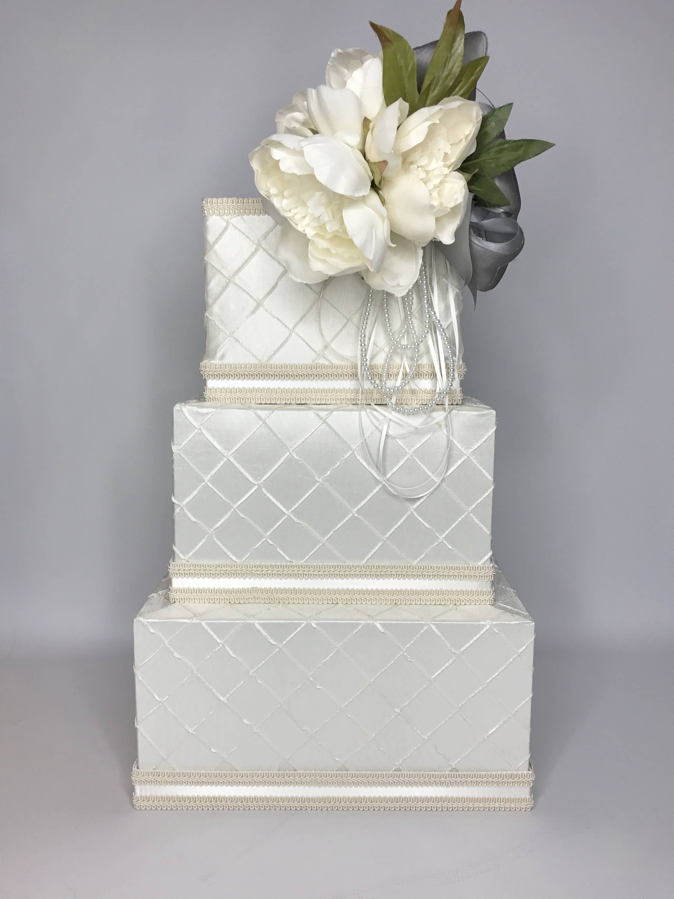 Wedding Card Box with Lock Chic Peony Ivory White With Charcoal ...