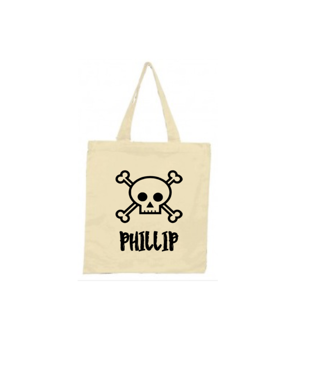 Halloween Trick or Treat Bag, Personalized Skull and Cross Bones ...