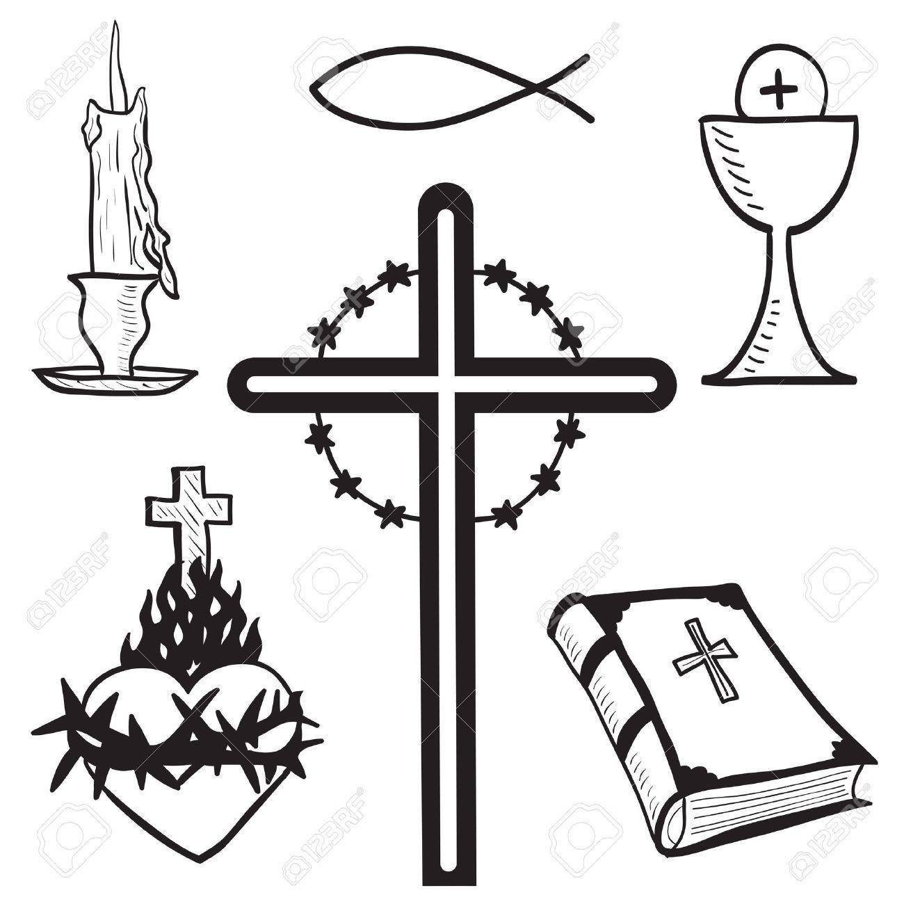 Christian dibujado a mano ilustración de los símbolos - vela, cruz ...