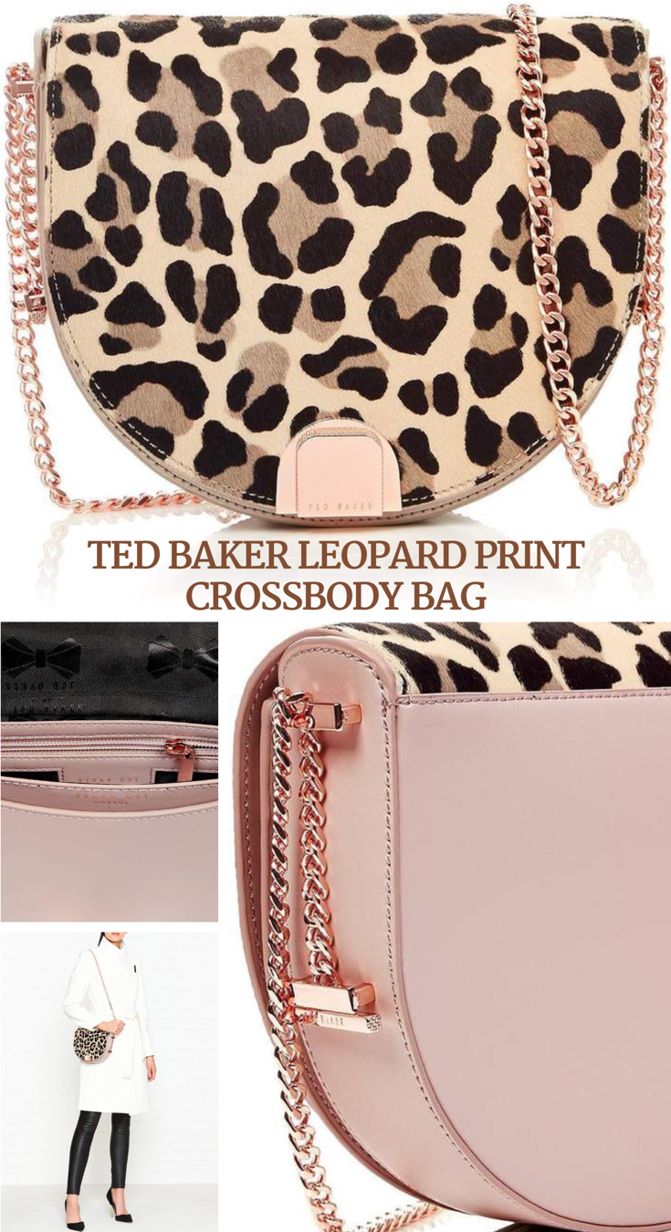b007287a0560 Ted Baker 'Leisa' leopard print crossbody bag with chain strap 49cm. Made  with leather and calf hair, this compact bag has space for phone, keys, ...
