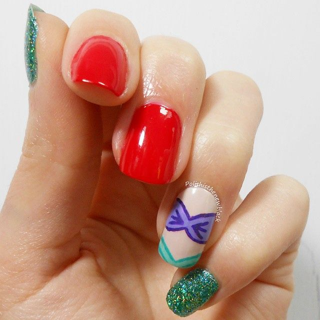 Little Mermaid mani  Recreation of the design by @lifeisbetterpolished  I LOVE this design!  Red: @soignenailsuk pomegranate Nude:@modelsownofficial naked glow Green glitter: @kikocosmeticsofficial Purple: @essieuk using my maiden name Turquoise: @essieuk turquoise & caicos  Top coat: @glistenandglow1