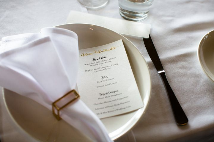 White and gold wedding details #weddingdetails #weddingmenu