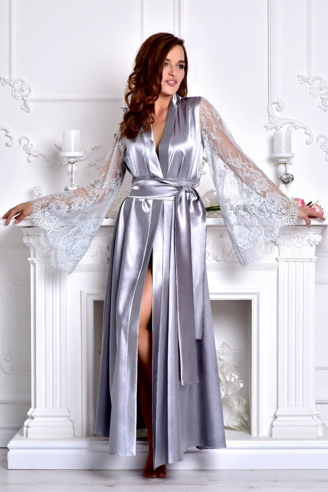 Gray long bridal robe Bridesmaid kimono robe Satin bridal dressing ... 661e5fe3e