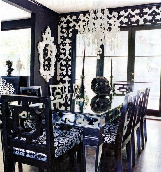 Black And White Dining Room Ideas  Dining Area Traditional And New Black And White Dining Room Decorating Design