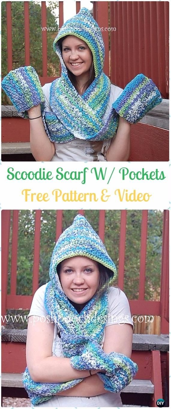 Crochet Scoodie Hooded Scarf With Pockets Free Pattern Video