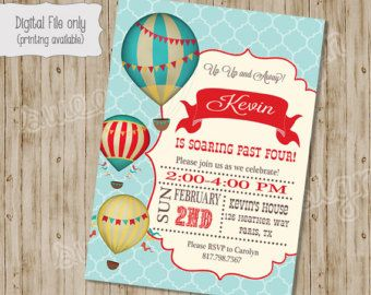Hot Air Balloon Birthday Invitation Vintage Hot Air Balloon Hot