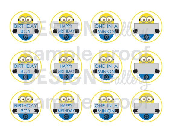 Minion Despicable Me cake toppers 2 round DIY Printable Instant