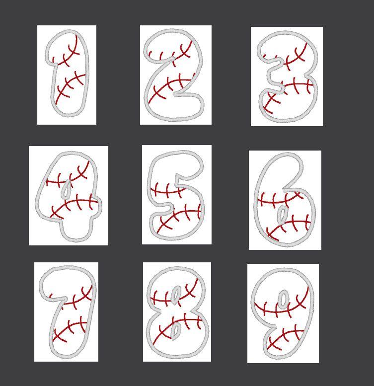 Baseball Number Set 1-9 Applique Embroidery Design