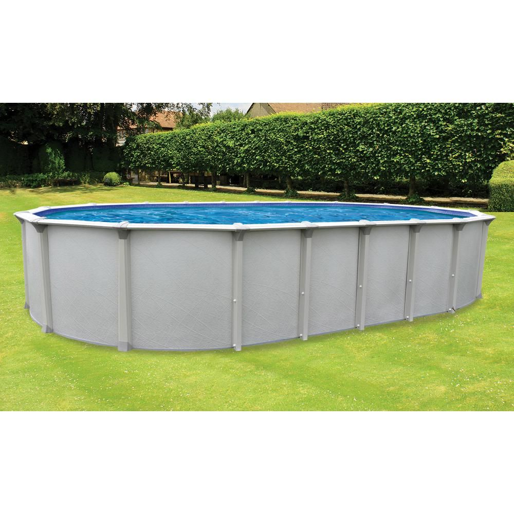 Cinderella Independence 12 Ft X 24 Ft Oval 52 In Deep Hard Side Metal Wall Above Ground Pool Package With Entry Above Ground Pool In Ground Pools Salt Pool