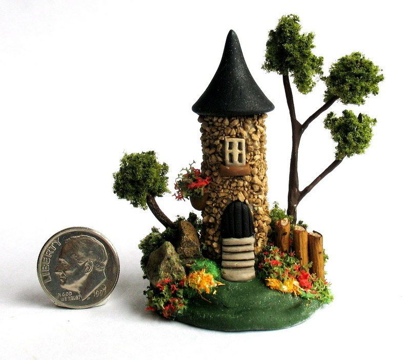 Handmade Miniature -   STONE TOWER  FAIRY CASTLE HOUSE - by C. Rohal #CRohal