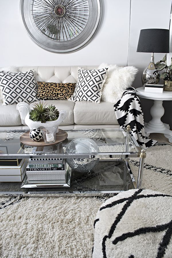 living room ideas with leather furniture%0A Beautiful Neutral and black and white living room with Beni Ourain rug   disco ball