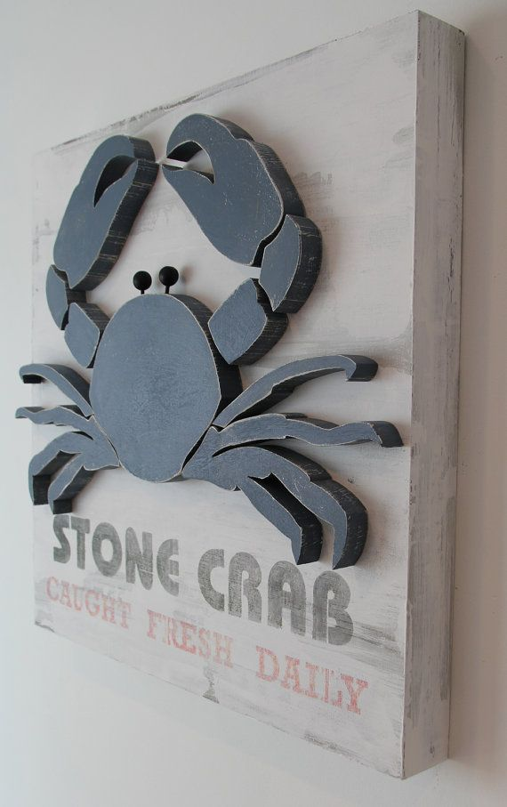 24x24 3d Crab Nautical Wood Wall Art Sign For Kids By