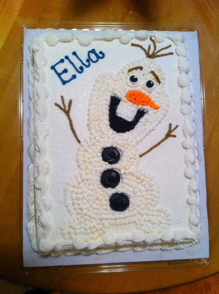 DIY Frozen Olaf Cake Ordered plain Costco half sheet cake diy