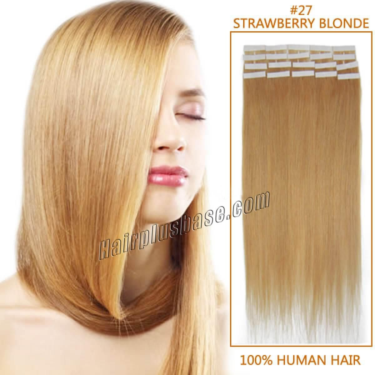 22 Inch 27 Strawberry Blonde Tape In Human Hair Extensions 20pcs