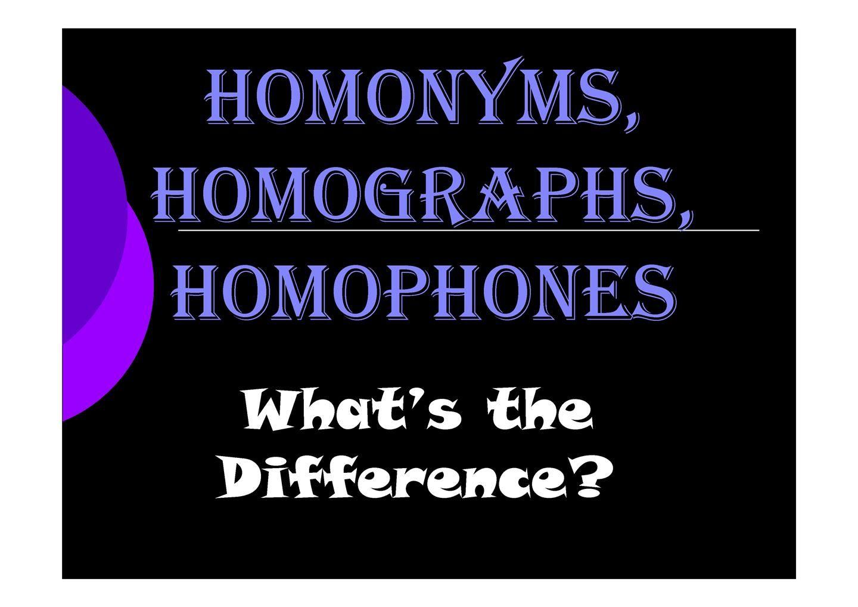 Homonymn Homophone And Homograph