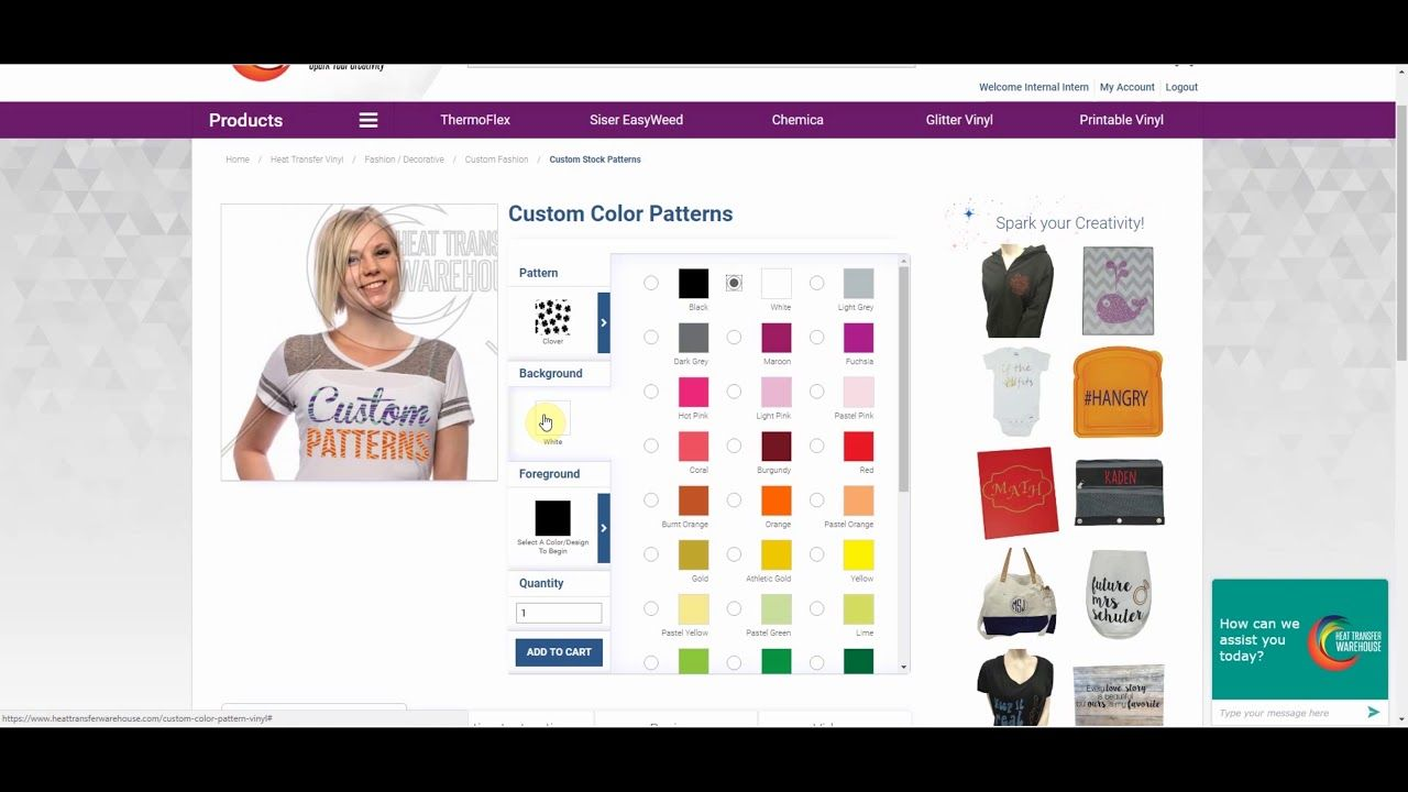 f855d900b How to choose a design and colors for your Custom Color Pattern Heat  Transfer Vinyl from Heat Transfer Warehouse. To get started visit ...