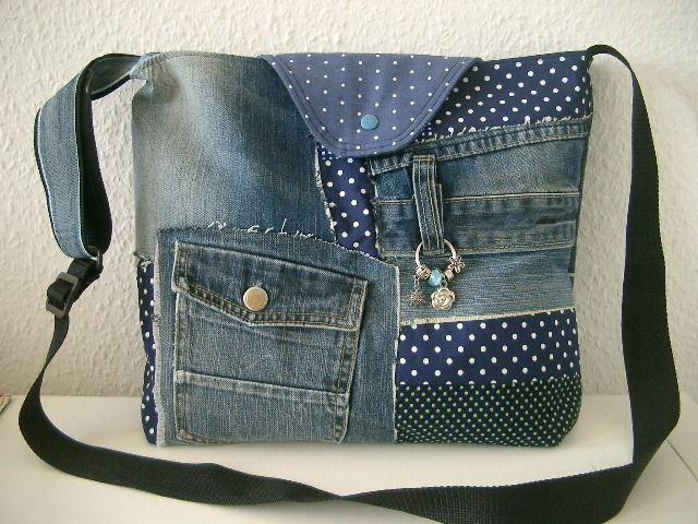 patchwork umh ngetasche jeanstasche mit punkten von n hwittchen auf bags t sk k. Black Bedroom Furniture Sets. Home Design Ideas