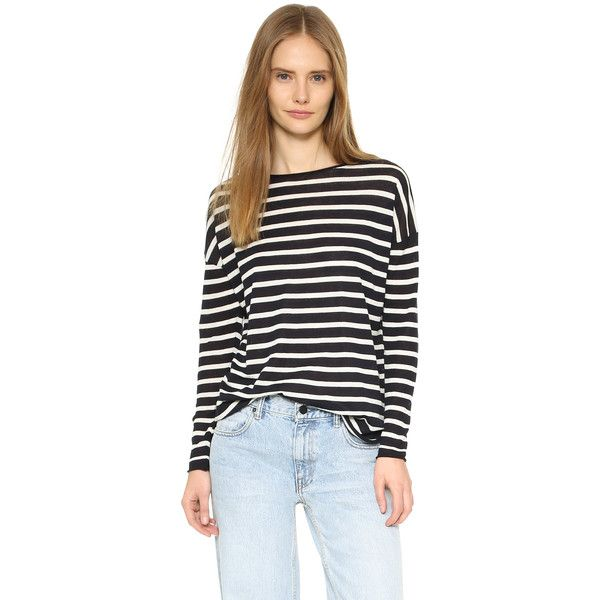 Nili Lotan Striped Crew Neck Sweater (430 CAD) ❤ liked on Polyvore featuring tops, sweaters, black sweater, striped crewneck sweater, lightweight black sweater, crewneck sweater and black crew neck sweater