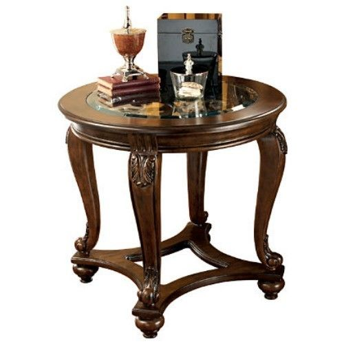 Ashley Furniture Norcastle Wood And Glass End Table