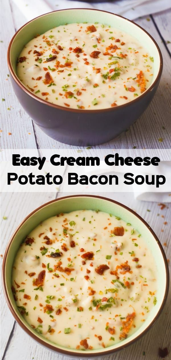 Easy Cream Cheese Potato Bacon Soup is a hearty soup recipe perfect for cold weather. This thick, creamy potato soup with cream cheese can be whipped up in just 20 minutes. #potatosoup