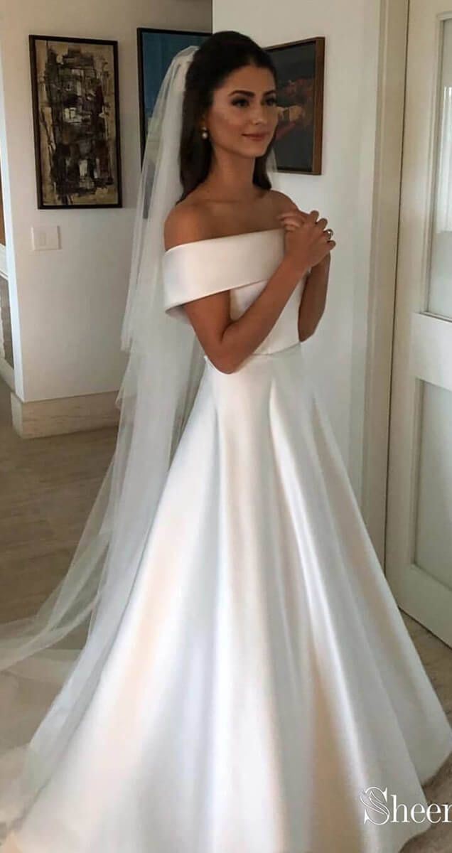 Off The Shoulder Modest Simple Wedding Gowns Weddingdresses Weddingdress Weddings Weddi Off Shoulder Wedding Dress Wedding Dress Belt Online Wedding Dress