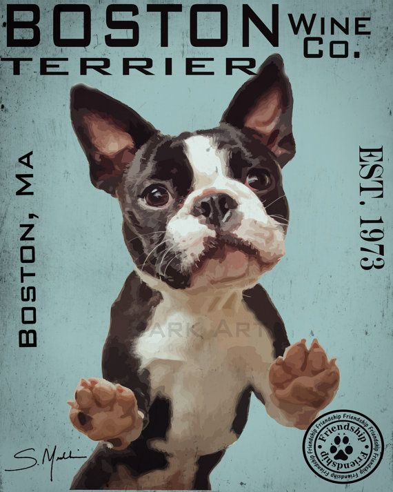 Boston Terrier Dog Digital Art Wine Co Print Or Canvas Etsy Boston Terrier Boston Terrier Funny Boston Terrier Dog