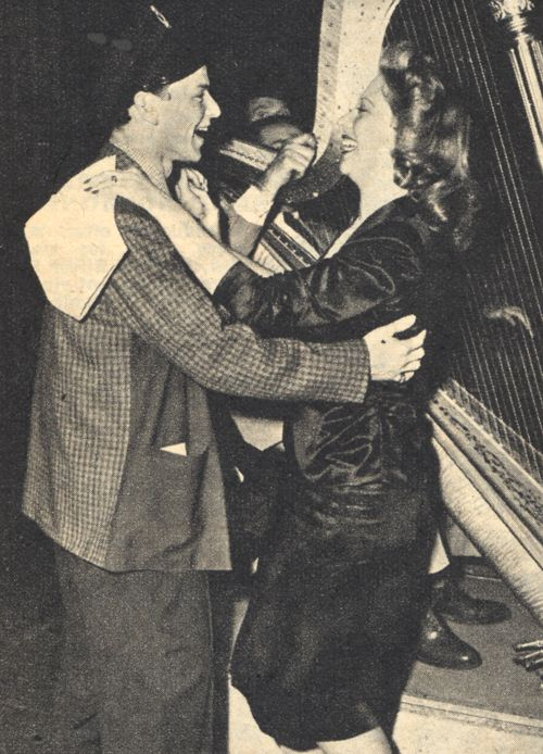Frank Sinatra dancing with Dinah Shore during a radio broadcast, 1944.