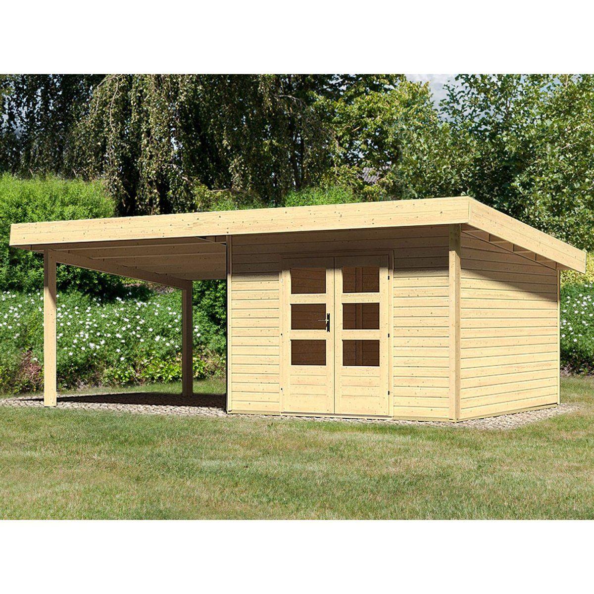 HolzGartenhaus Karlskoga 3 Natur Set mit 3 m Schleppdach