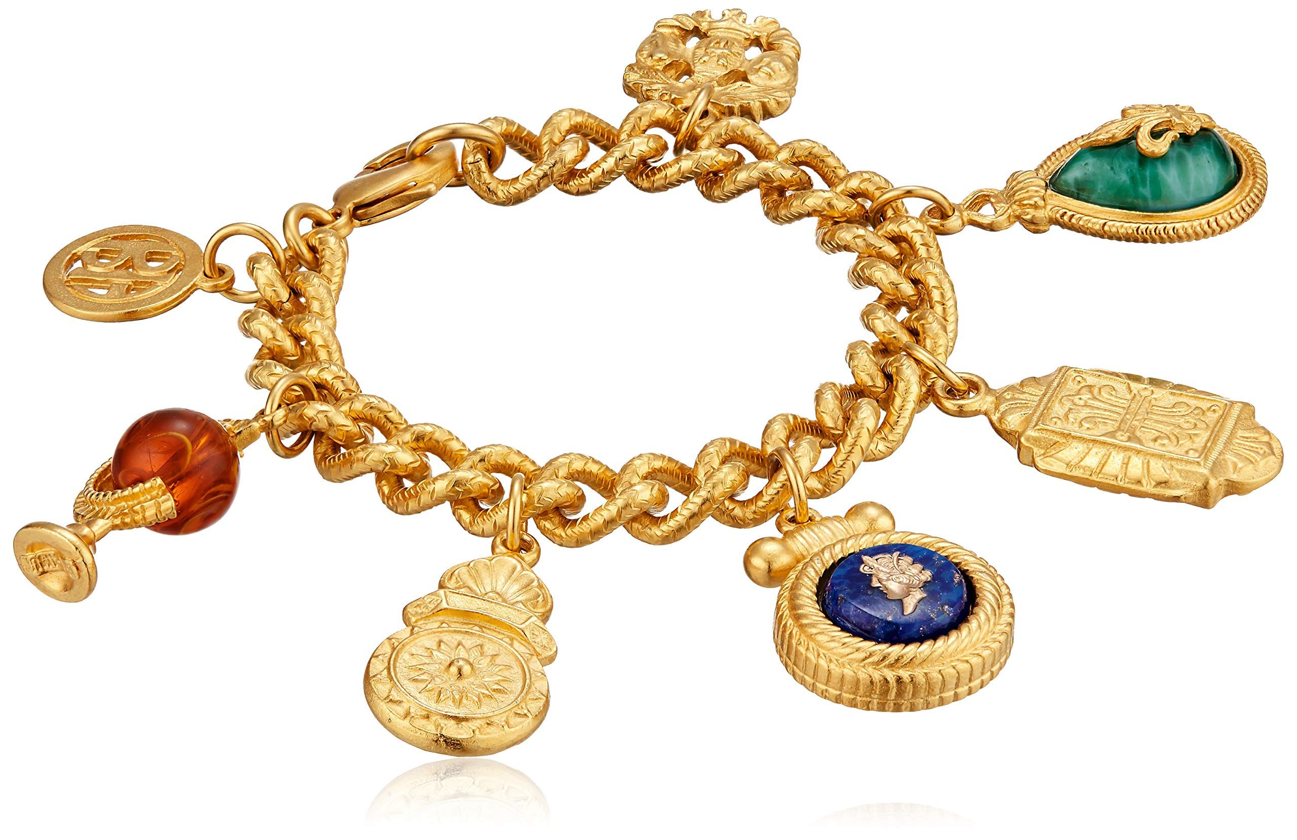 Ben-Amun Jewelry Royal Charm Vintage-Inspired Gold Multi Charm Bracelet