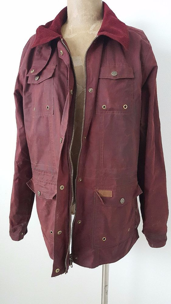 Outback Trading Company Jacket Size Large Oilskin Cotton Red Women #OutbackTradingCompany #BasicCoat