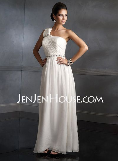 Mother of the Bride Dresses - $157.09 - Empire One-Shoulder Floor-Length Chiffon  Charmeuse Mother of the Bride Dresses With Ruffle (008006411) http://jenjenhouse.com/Empire-One-shoulder-Floor-length-Chiffon--Charmeuse-Mother-Of-The-Bride-Dresses-With-Ruffle-008006411-g6411