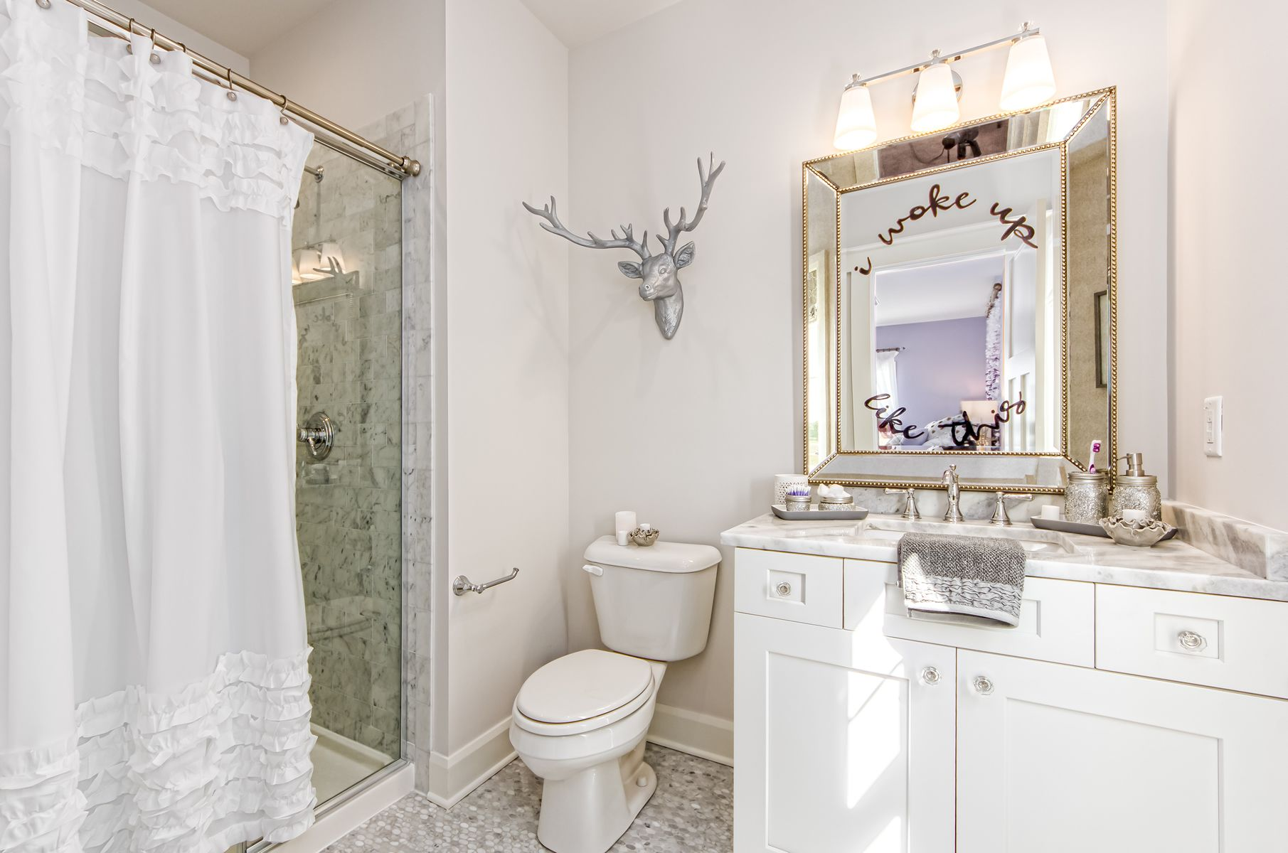 Such a Pretty Bathroom ~ You Can See the Girl\'s Bedroom Reflected in ...