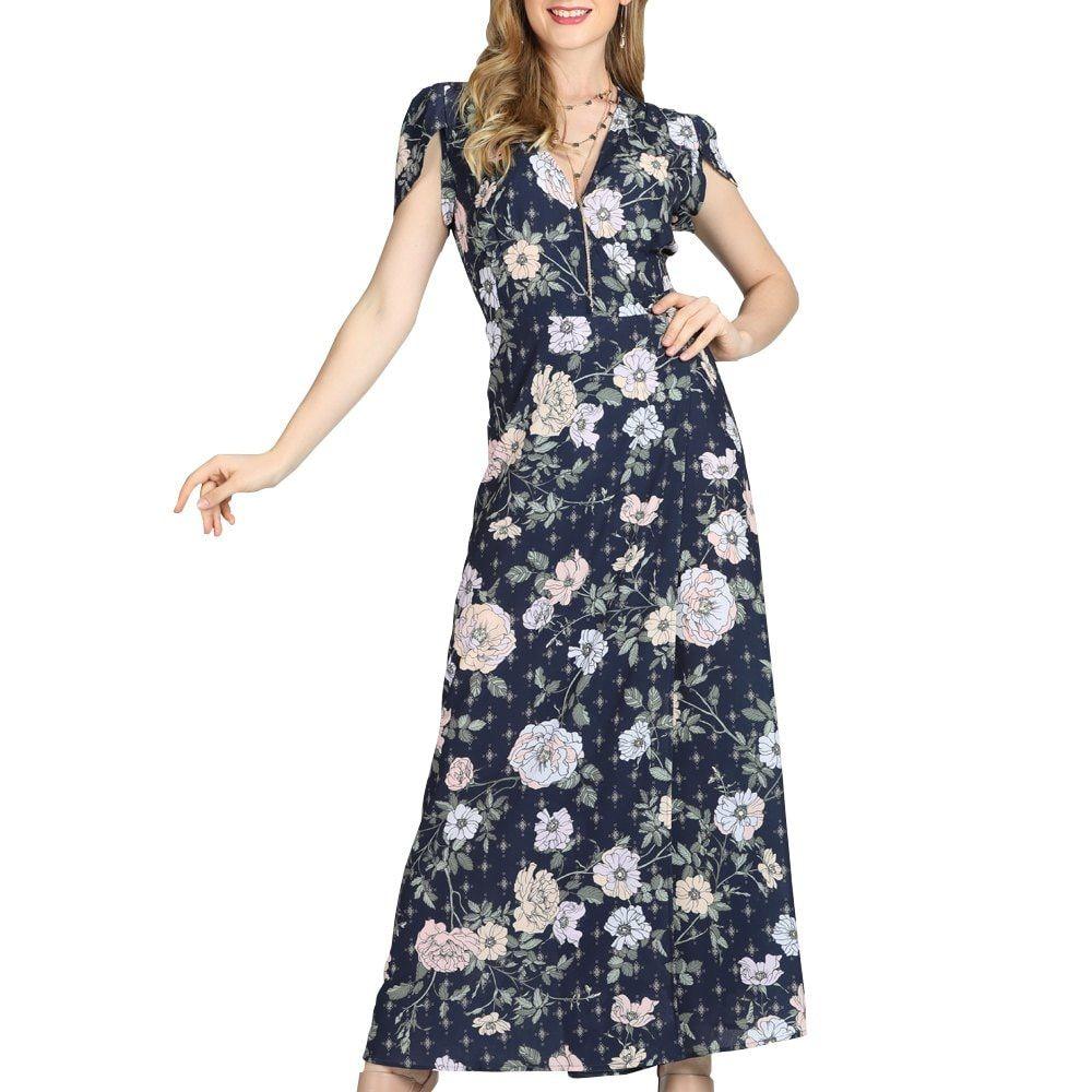 SBETRO Maxi Dress Floral Print Deep V Neck Short Petals