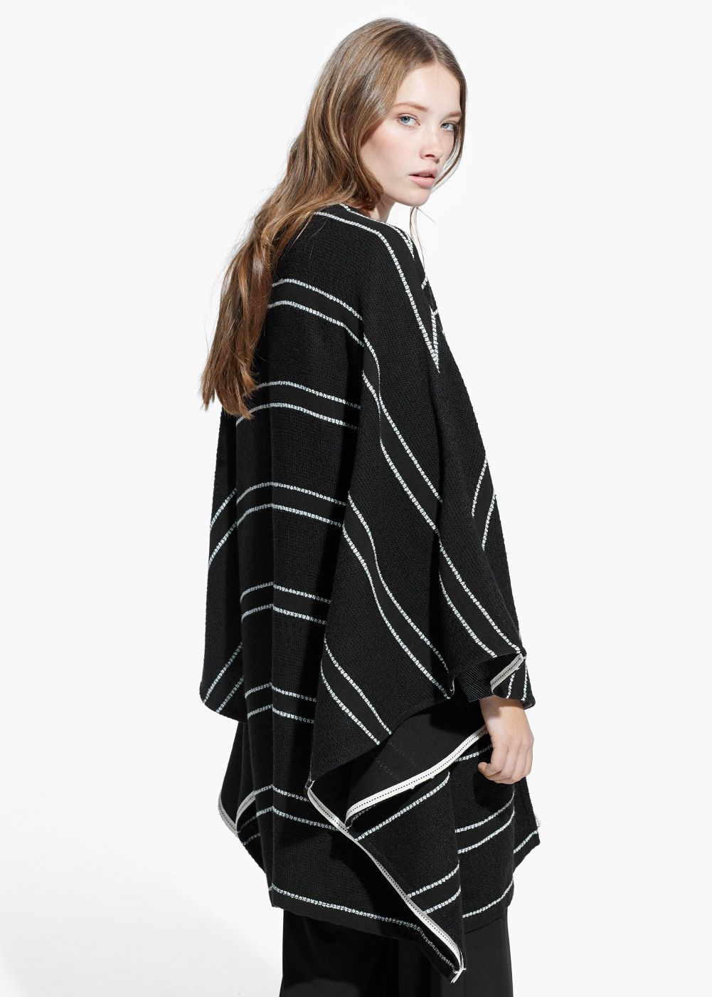 Striped bouclé cape